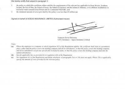 Employers liability certificate