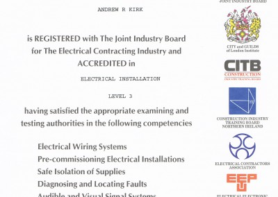 NVQ electrical installation level 3 Certificate